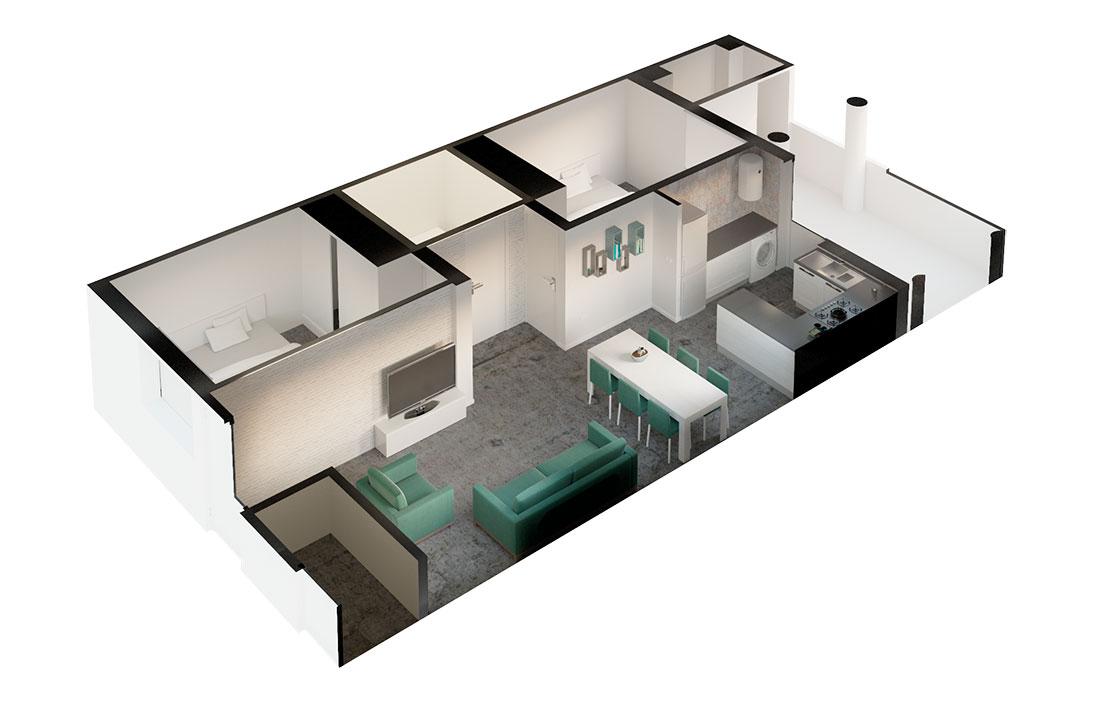 Axonometría de vivienda renderizada. Interiorismo en tonos verdes.