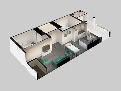 Miniatura de axonometría de vivienda renderizada. Interiorismo en tonos verdes.