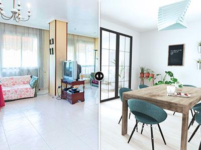 Miniatura de imagen comparando una foto de una vivienda amueblada con la reforma virtual.