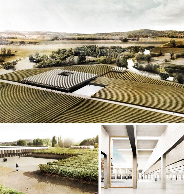 Collage de tres render exteriores e interiores realizados por el estudio Agraph.