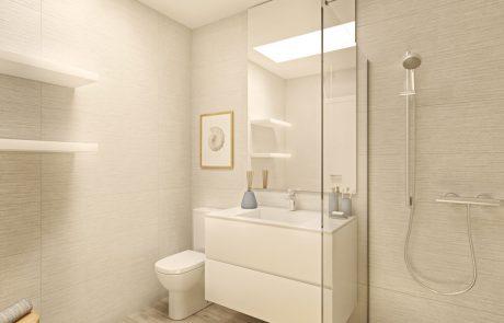 Render interior de baño con lucernario. Suelo imitación madera, puede observarse la ducha, mueble de lavabo e inodoro.