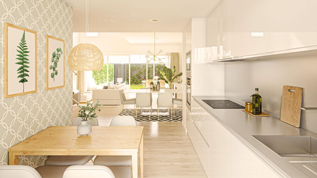 Render interior de cocina abierta hacia el salón comedor con el patio ajardinado al fondo.
