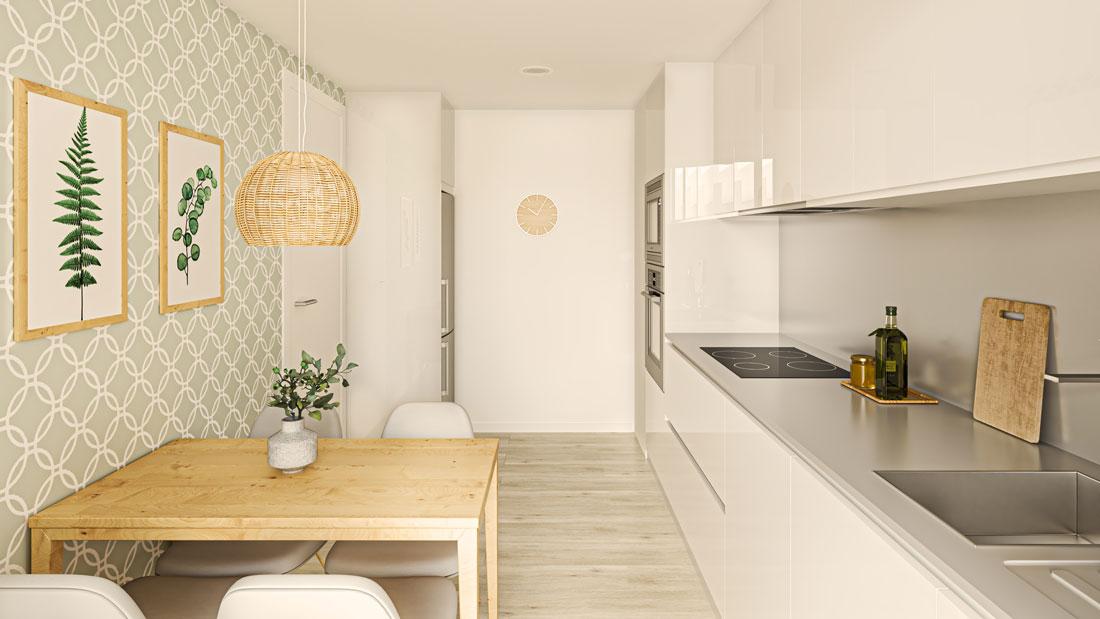Render interior de cocina cerrada, con papel pintado verde desaturado combinado con madera.