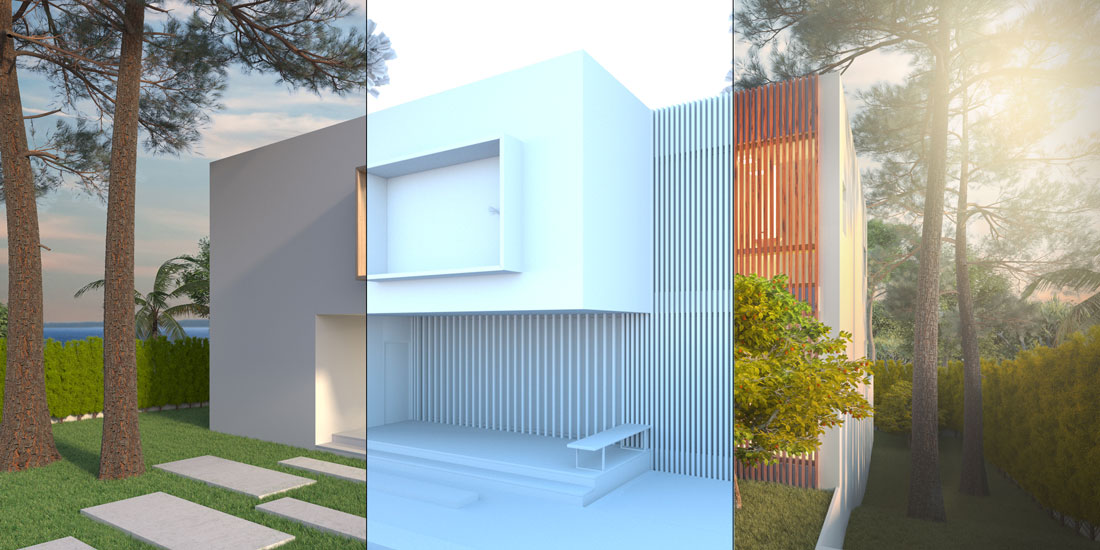 Imagen dividida verticalmente en tres, mostrando de izquierda a derecha, en el primer tramo el render de motor sin posprocesado, en el segundo tramo el render con iluminación y sin materiales y en el tercero el render acabado.