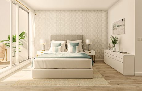 Render interior de dormitorio, con carpintería de suelo a techo con acceso a balcón. Interiorismo con papel pintado donde apoya la cama.