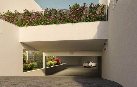 Render exterior de entrada a garaje con zonas ajardinadas.