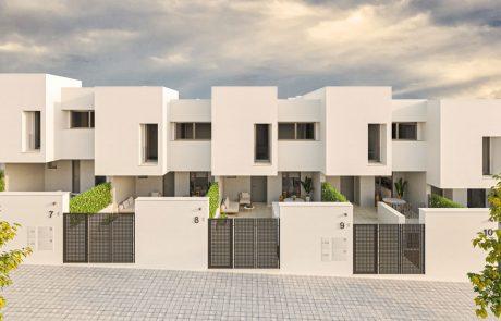 Render exterior frontal de fachadas de urbanización de viviendas en pendiente.