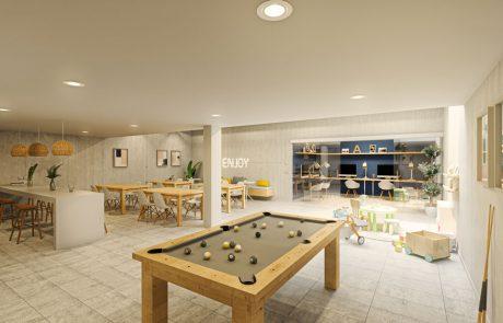 Render interior de sala común. Paredes de hormigón, techo blanco y suelo cerámico beige.