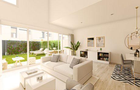 Render interior de salón comedor con acceso mediante gran carpintería de suelo a techo al patio ajardinado.