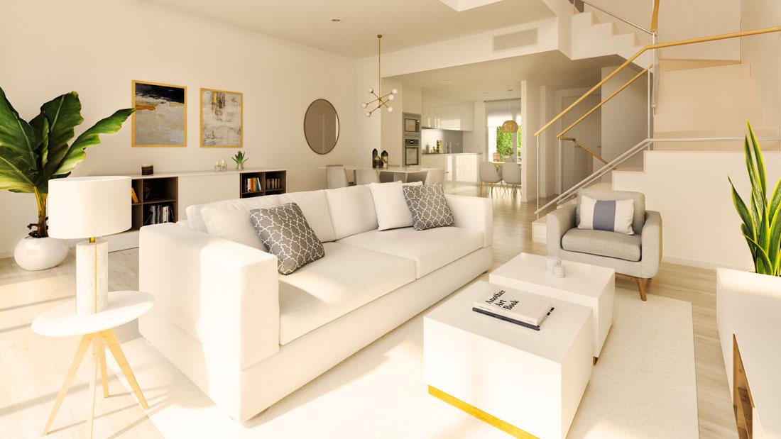 Render interior de salón comedor donde se puede apreciar la escalera y cocina abierta.