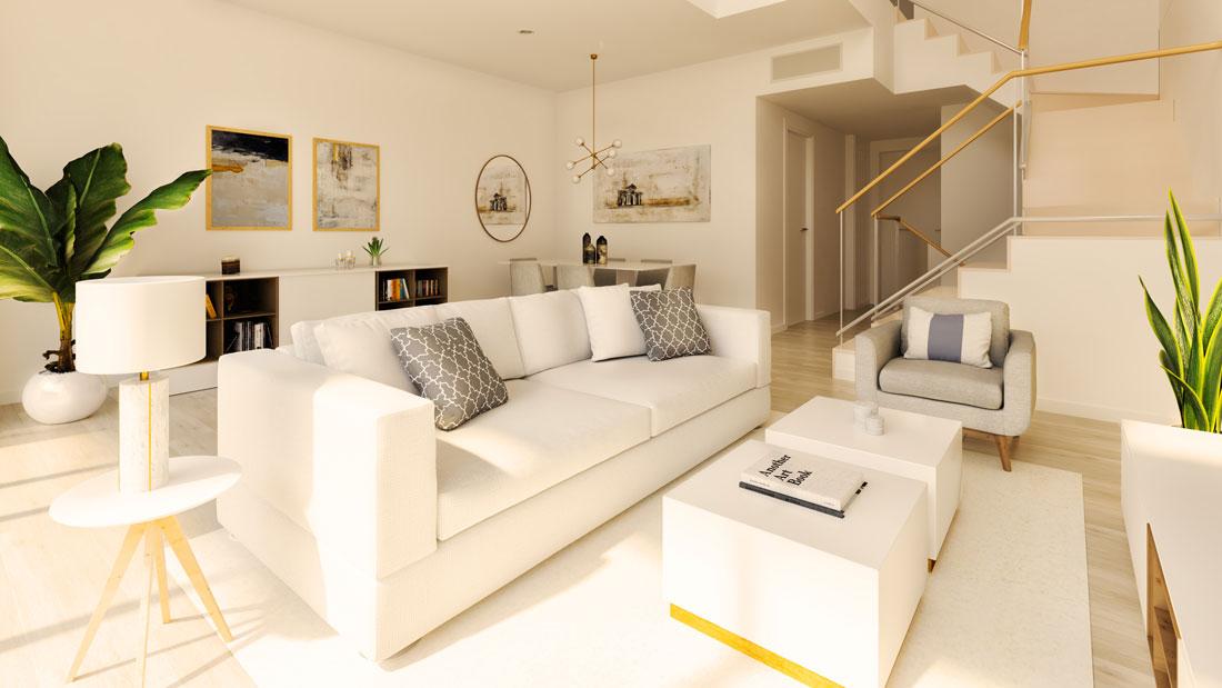Render interior de salón comedor donde se puede apreciar la escalera y cocina cerrada.