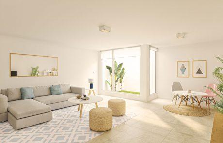 Render interior de sótano con acceso a patio ajardinado mediante carpintería de suelo a techo.