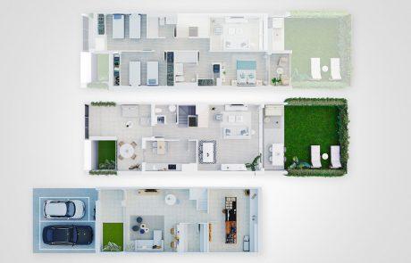 Imagen con 3 plantas de vivienda a modo de plano comercial 3D, donde aparece la planta sótano, baja y primera.
