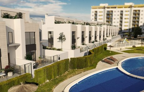 Render exterior ligeramente elevado del suelo, donde se ven las zonas comunes con piscina y la urbanización.