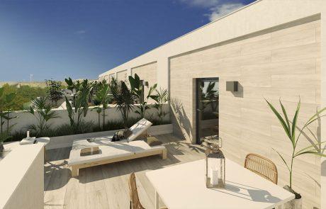 Render exterior de una terraza en primera planta con vegetación y mobiliario de estar.