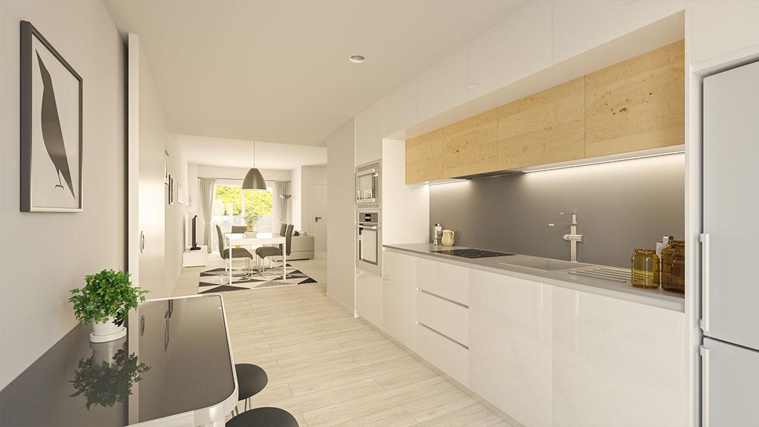 Render de cocina abierta combinando lacado blanco y madera.