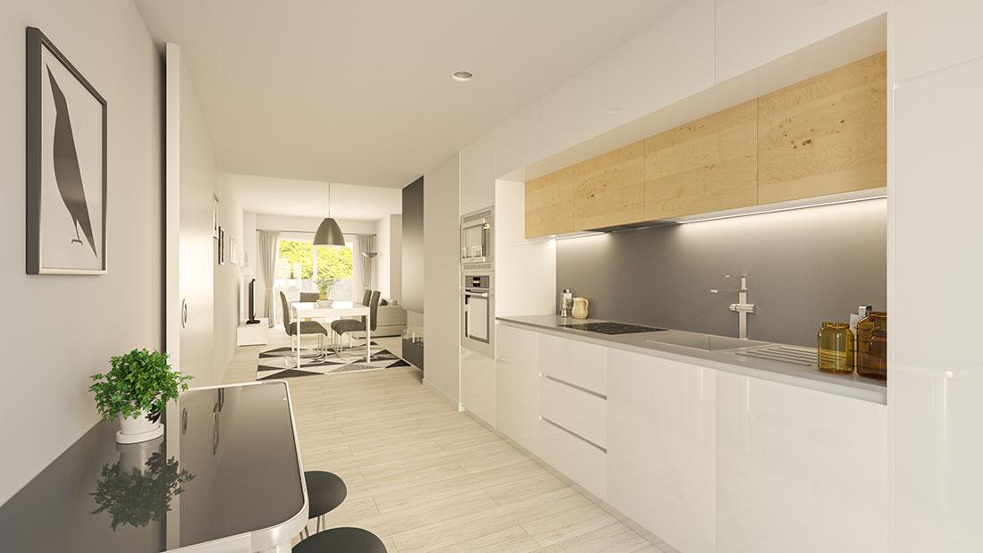 Render de cocina abierta combinando lacado blanco y madera, en esta versión se ve la chimenea y el frigorífico está integrado con un panelado en la cocina..