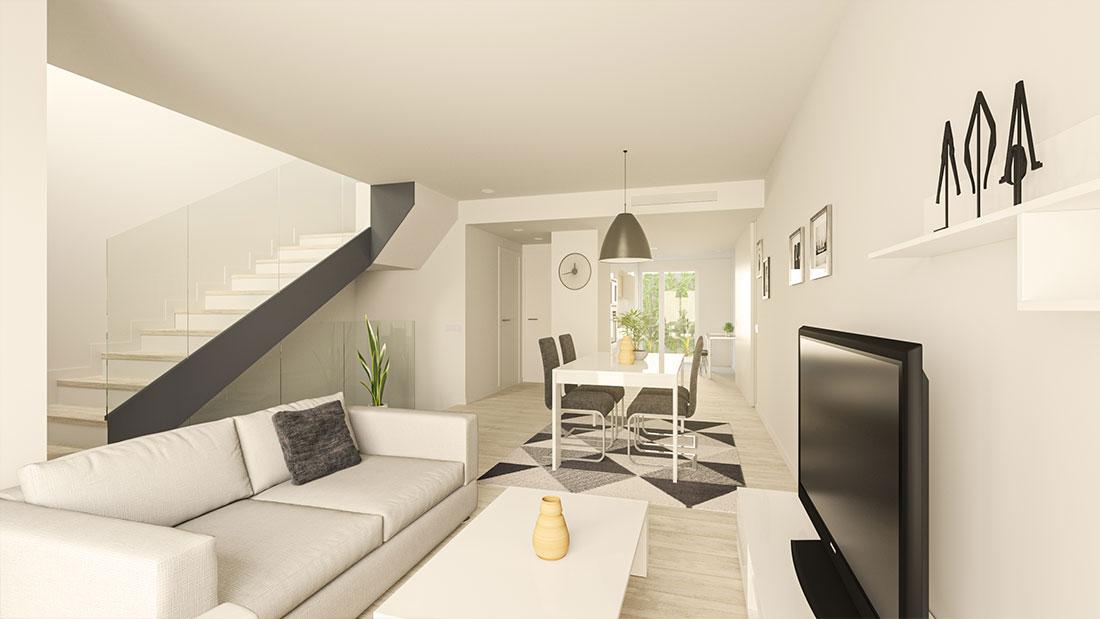 Render interior de salón comedor que muestra la continuidad visual de la vivienda con el patio ajardinado al fondo.