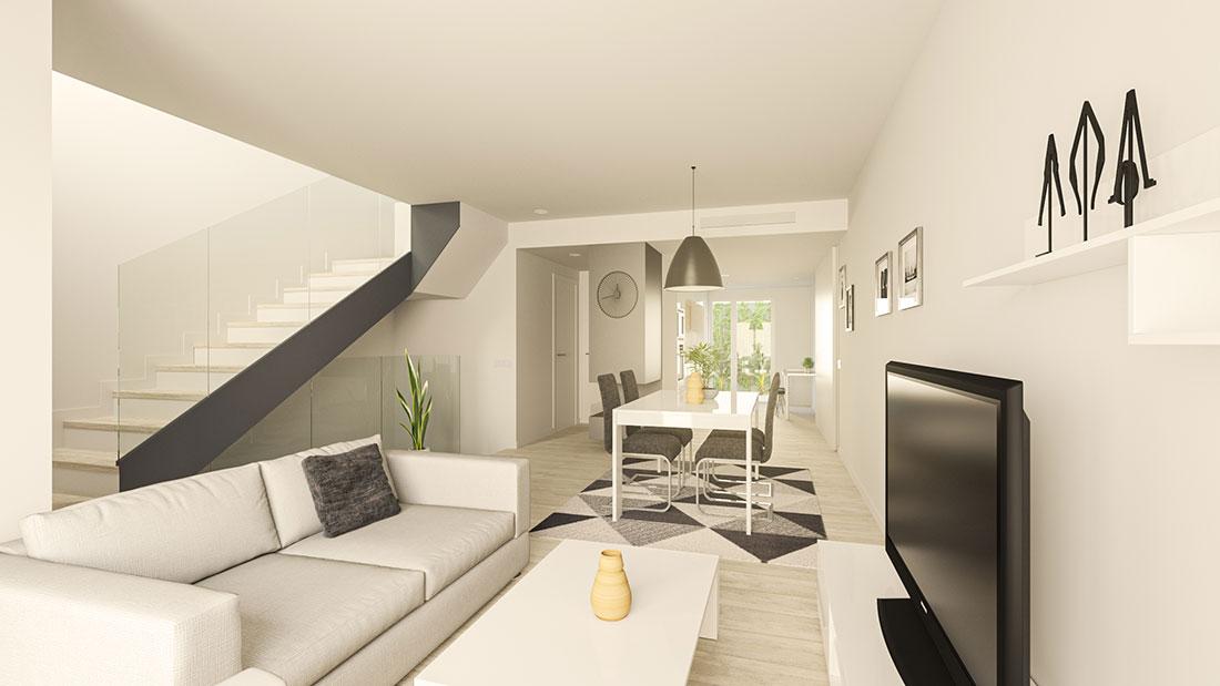 Render interior de salón comedor con chimenea que muestra la continuidad visual de la vivienda con el patio ajardinado al fondo.