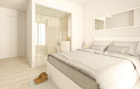 Render interior de dormitorio principal con la entrada al baño mediante fijo y puerta corredera de vidrio.