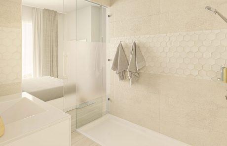 Render interior de baño con fijo de vidrio en zona de ducha y puerta corredera de vidrio, ambos con franja translúcida por motivos de intimidad.