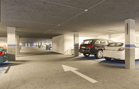Render interior garaje, plazas pintadas de azul RAL142, suelo y techo de hormigón pulido.